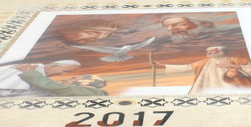 2017 news about Pope Francis shown artistically with Teide sand in La Orotava in a Corpus Christi carpet.