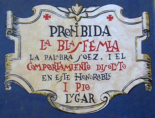 A plaque that is very beautiful forbids blasphemy on the facade of Casa El Halcon. Would that be the Casa del Cura a renown priest of the region?