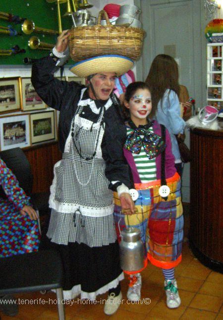 Inside Afilarmonica Nifu Nifa a Tenerife carnival club with the famous character La Lechera the Milk Maid.