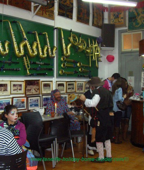 Afilarmonica wind instruments displayed on walls of the club house of the Fufa.