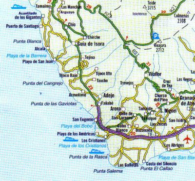 Alcala regional map Tenerife Guia de Isora