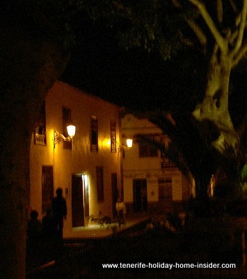 Alleyway in Garachico lit up by lanterns and moonlight