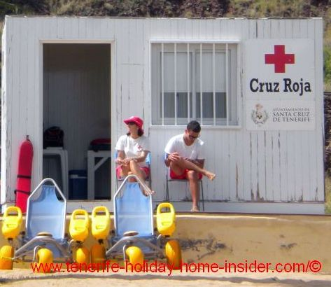 Amphibian chairs by the Red Cross at Las Teresitas beach of Santa Cruz de Tenerife.
