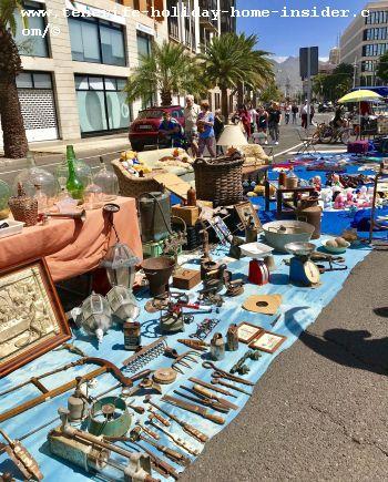 Antique gadgets of flea market shopping in Tenerife in its capital Santa Cruz
