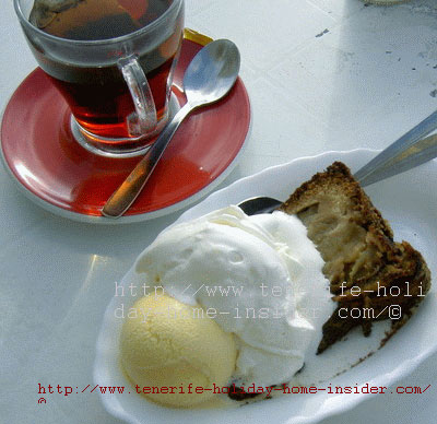 Hot Apple cake with vanilla ice cream