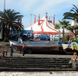 Aqua Circus shows on Ice by the Puerto de la Cruz Muelle Lighthouse.