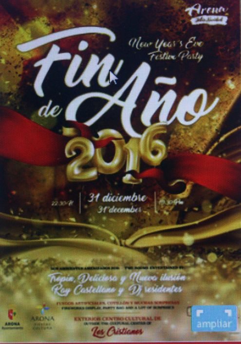 Arona end of Year 2016 celebrations at Los Cristianos with two dance rave events and fireworks.