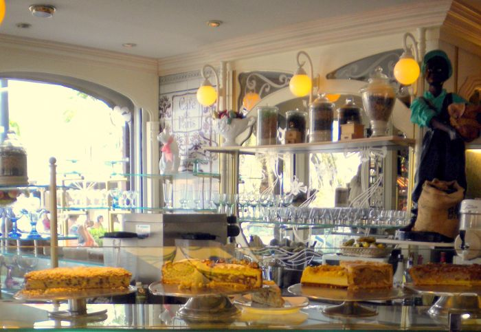 Art Nouveau cafe for take-away in Puerto de la Cruz on Costa Martianez Tenerife.