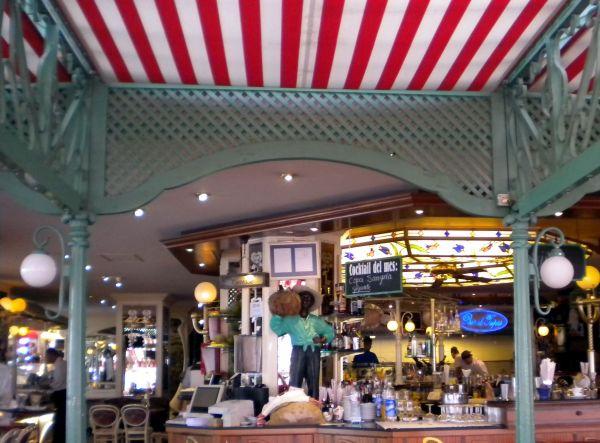 Art Nouveau design within the Paris style Cafe of Puerto de la Cruz.