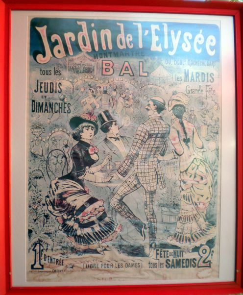 Art nouveau poster with bygone Paris scene in French cafe of Puerto de la Cruz.