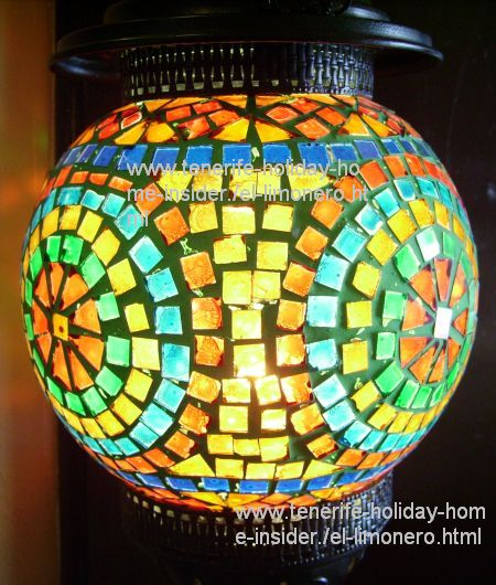 Artistic lamp with colored glass