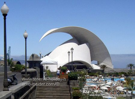 Auditorio Tenerife the Santa Cruz opera house  with Parque Maritimo Cesar Manrique in the foreground.