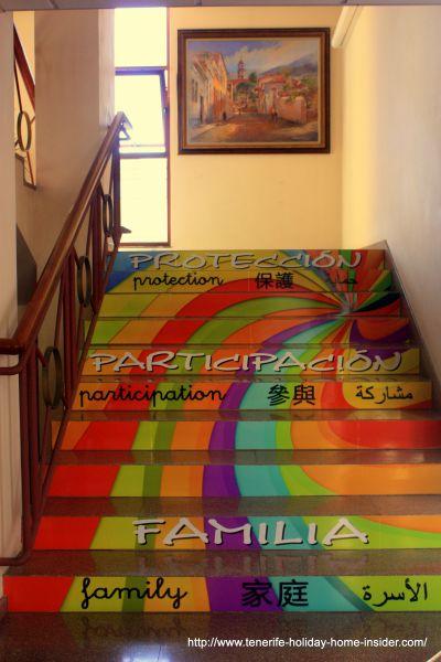 The Ayuntamiento Los Realejos town hall's extraordinary staircase.