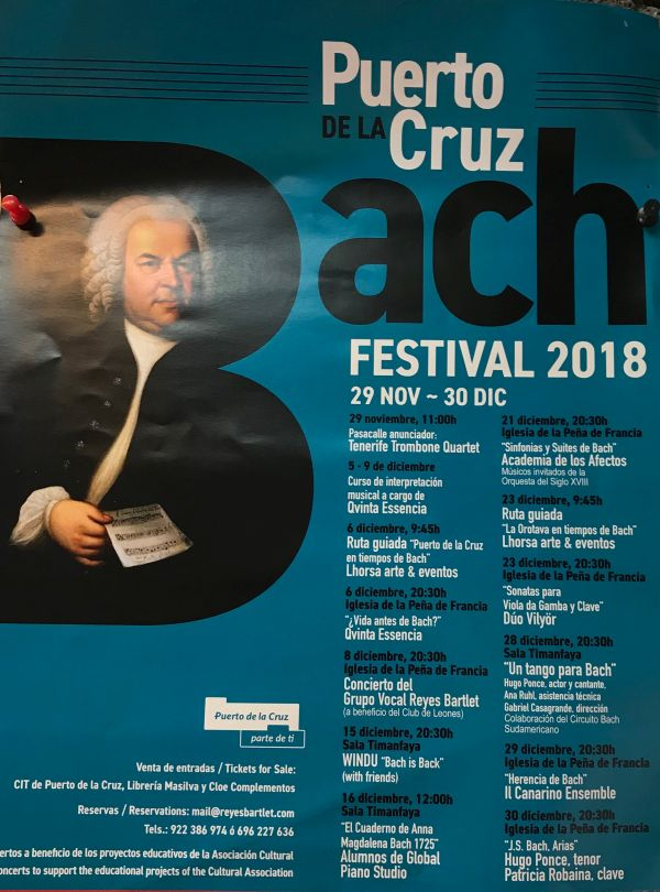 Puerto Cruz Bach festival 2018 Poster with its entire concert agenda until the end of December