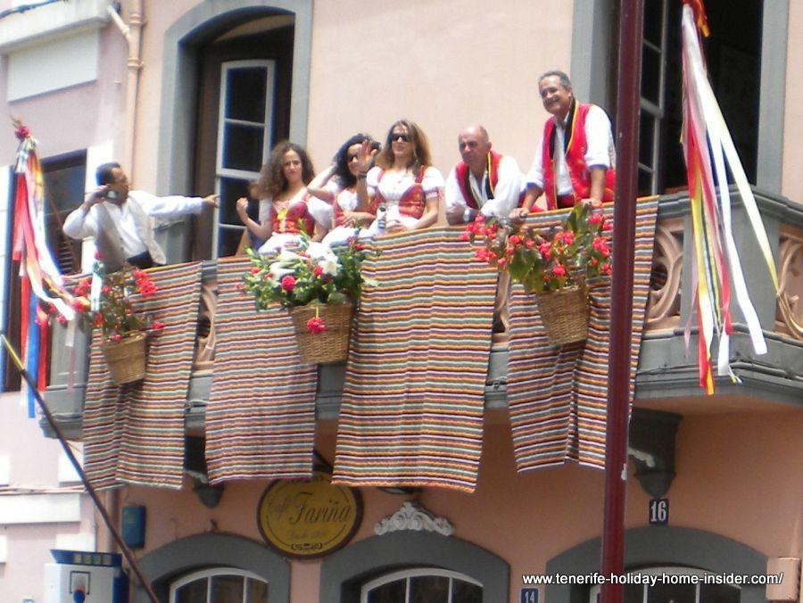 Balcony decorations during Romeria Orotava