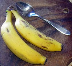 Bananas-tiny Tenerife Bananas and tea spoon