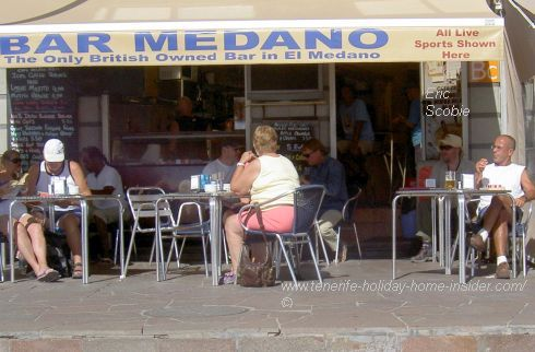 Bar Medano the only British owned bar in El Medano, as displayed outside. Also read