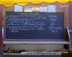 Bargain menu at 'Party Street' Santa Cruz Tenerife Restaurante Chill-out Bar