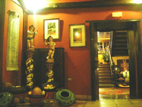 Baroque sculptures and ornaments below the first floor staircase.