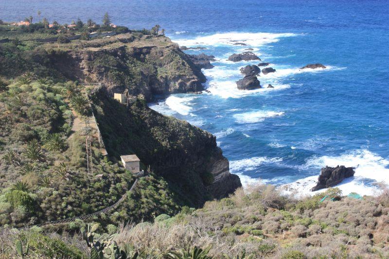 Barranco Ruiz Nature Reserve seashores near La Casona de Castro seen from the Rambla by other side of the gorge.