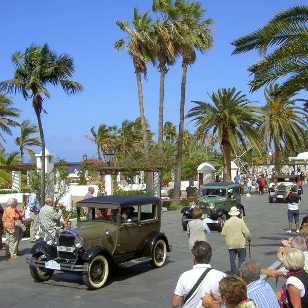 Beach front rally Tenerife carnival in Avenida Colon.