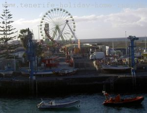 Beach fun fair by the Puerto de la Cruz harbor.