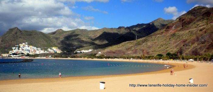 Beach landscape Tenerife Las Teresitas with white sand conversion.