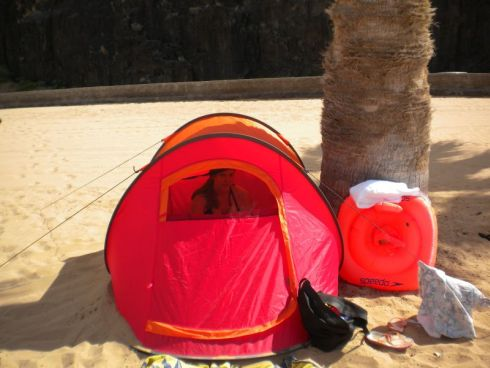 Beach tent amenity that's easy to fold, carry and transport.