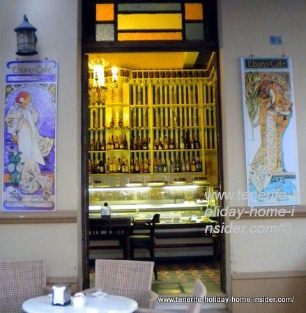 Belle epoque art art by front door Ebano Cafe Tenerife