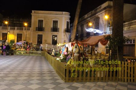 Biblical scenes of Christmas by a Tenerife Belen (nativity scenes) with life-size sculptures of fine art at the Town Hall of La Orotava