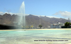 Canary Island lake in Tenerife  capital with Ferry Armas behind.