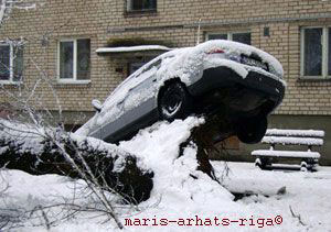 Car accident caused by snow storm