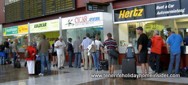 Car rental Tenerife at the South airport with a few of many agencies depicted