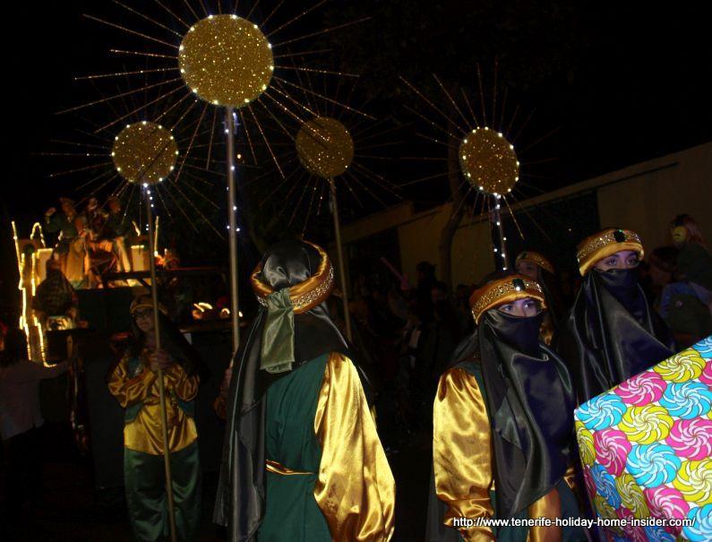 Caravan followers of one of Los Reyes Magos in Puerto de la Cruz.