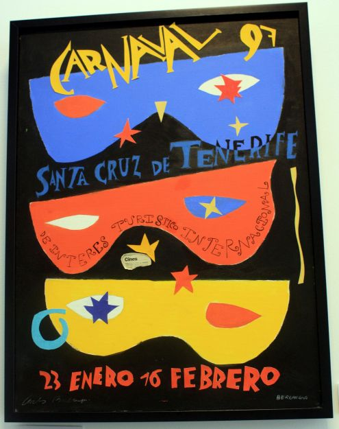 Carlos Berlanga mask illustrations for the 1997 Tenerife capital carnival.
