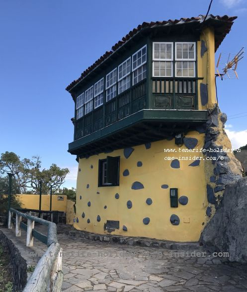 Casa El Halcon the solitary Eagle House with a huge wooden bay window between La Rambla El Rosario and Las Aguas fishing village
