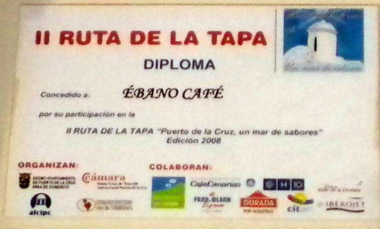 Certificate for best Tapas of Puerto de la Cruz of Tapa Route 2008.