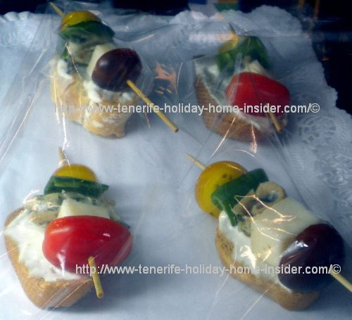 Cheese vegetable pinchos pintxos