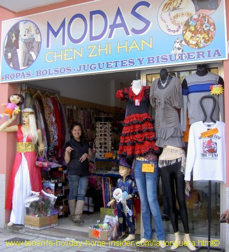 Chinese owned clothes shop for carnival stuff at la Longuera