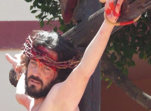 Christ crucified without real blood in Adeje street theatre