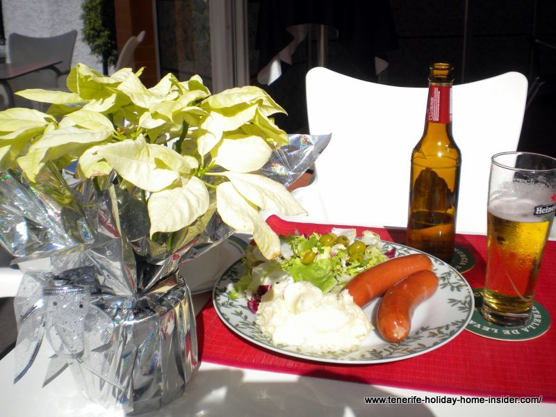 Christmas table decoration by real Christmas plant