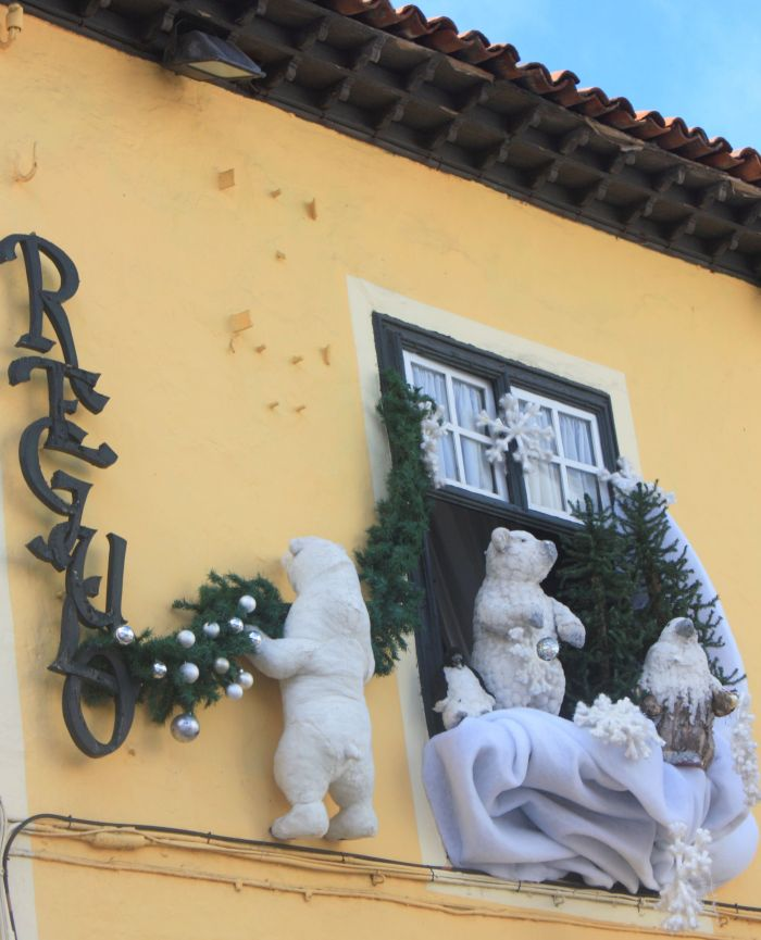 Christmas decorations outside at La Ranilla of Tenerife.