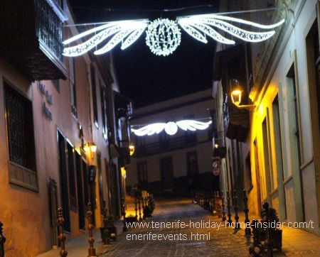 Christmas town with the cobbled street by an ancient Hotel Rural Orotava