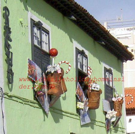 Christmas window decorations  Puerto de la Cruz