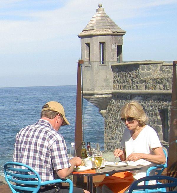 Cofradia restaurant with harbor views.
