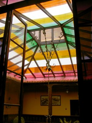 Colorful hotel skylight in more than 300 year old mansion in calle Quintana, 11 Puerto de la Cruz.
