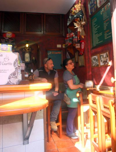 Coromoto in her Orotava Tenerife bar El Cuartito of less than 13m2
