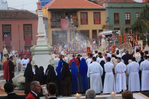 Corpus Christi procession on the Orotava main town square.