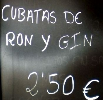 Cuban Cubatas Rhum and Gin billboard note