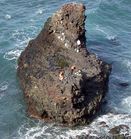 Dangerous fishing rocks of beach Playa de los roques by Hotel Martim on the border of Los Realejos and Puerto de la Cruz.